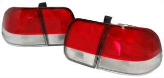 96 98 CIVIC EK 4D DR Red Clear Tail Lights 4 Pcs DEPO