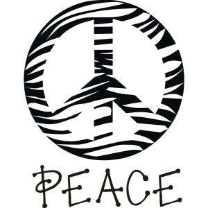 Vinyl Attraction Zebra Print Peace Sign with the word Peace