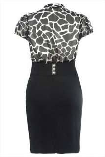 Black & White Giraffe Print 2in1 Dress Plus Size 16,18,20,22,24,26,28