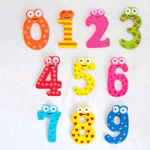 10pcs colorful Wooden Number baby kids Early Learning Education Magnet