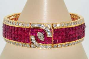 .26CT INVISIBLE SET RUBY & DIAMOND BRACELET 18K YELLOW GOLD VS