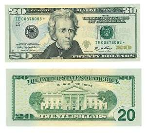20* STAR NOTE 2006 REPLACEMENT TWENTY DOLLAR BILL LOW SERIAL NUMBER
