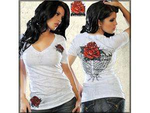Sinful Blossom Angel Wings Roses Rhinestone Womens V Neck