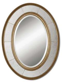 FRENCH CHIC Oval WALL MIRROR Silver/Gold Mantel Bathroom NEW