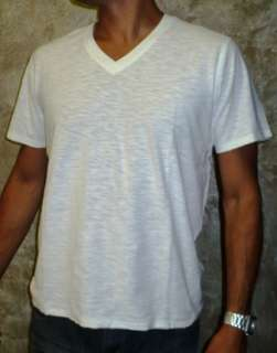 Urban Behavior V Neck WHITE Mens T shirt BASIC Tee
