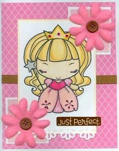 Handmade girl greeting birthday card Pink Princess cute