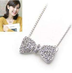 Fashion Full Rhinestone Bow Tie Chain Necklace H032