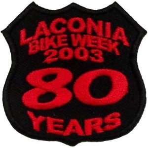 LACONIA BIKE WEEK Rally 2003 80 YEARS Biker Vest Patch