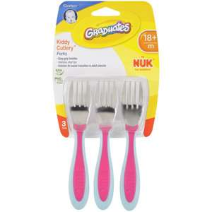Gerber Graduates Kiddy Cutlery Toddler Forks, 3ct Feeding