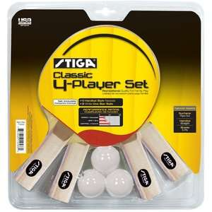 Stiga Classic 4 Player Table Tennis Racket Set Game Room