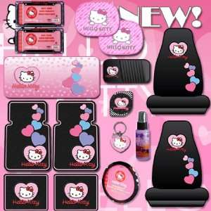 16PC HELLO KITTY CAR MATS, STEERING WHEEL COVER, SEAT COVERS, KEY