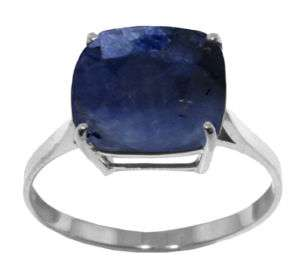Natural Blue Sapphire Solitaire Cushion Cut Ring Stamped 14K. Solid