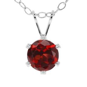 1.00 Ct Round 6mm Red Garnet Sterling Silver Pendant With