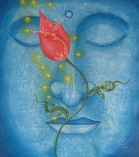 RED LOTUS Orig Buddha Painting Thai Fine Art NOVICA: Drawings