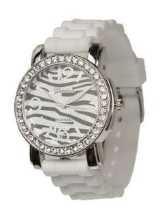NEW Geneva WHITE ZEBRA SILICONE RUBBER JELLY WATCH with CRYSTALS Large