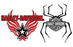 Harley Davidson Bar & Shield Spider Wings Tattoo Decal
