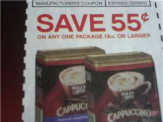 15 Coupons $.55/1 Hills Bros Coffee 12oz or larger package 2/5/2012