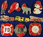 firefighting fireman dog badges engines 10 lapel pins one day