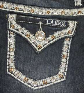 NWT LA IDOL SKINNY JEANS RHINESTONES BLING LIGHT BLUE PICK STITCH FLAP