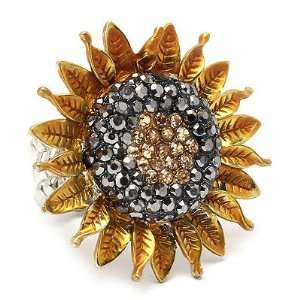 Sunflower Crystal Stretch Adjustable Fashion Ring Gold Yellow Jewelry