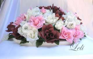 IVORY OPEN ROSES/ OPEN PINK, BROWN ROSES/ MINI ROSES/ BABYS BREATH