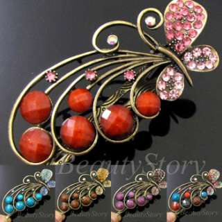 SHIPPING antiqued rhinestone crystals butterfly hair clamp clip