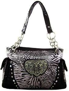 Faux Fur Zebra Leopard Animal Print Triple Heart Emblem Purse Bag Gray