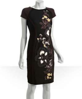 Donna Morgan black and bark stretch floral print short sleeve dress