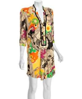 Bags beige floral printed jersey tunic dress