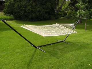 Extra Large White Two Adult Size Rope Hammock with Heavy Duty Black 15