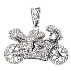 Silver Tone Iced Out White Crystal Motorcycle Charm Pendant Jewelry