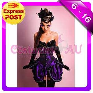 Ladies Purple Corset + Moulin Rouge Skirt Burlesque Costume Fancy