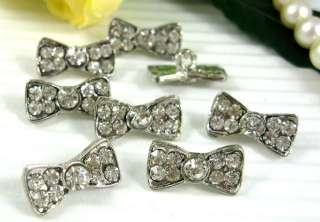 Sparkling Clear Crystal/Rhinestone Bow Buttons N059