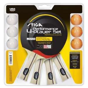 Stiga Performance 4 Player Ping Pong Paddle Set  Sports