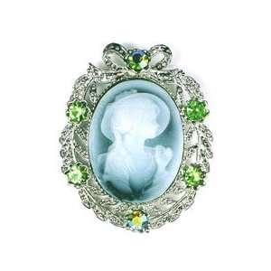 Green Austrian Rhinestone Lady Cameo Silver Tone Brooch Pin Jewelry