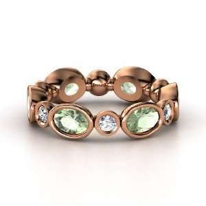 Circle Band, 14K Rose Gold Ring with Green Amethyst & Diamond Jewelry