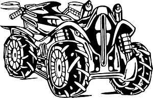 ATV RIDER STUNTS TRICKS STICKER/DECAL CHOOSE SIZE/COLOR 002