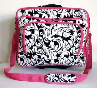 Computer/Laptop Briefcase Rolling Wheel Padded Travel Bag Pink/White