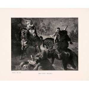 1903 Print Arab Chief Chasseriau War Weapon France Battle Costume